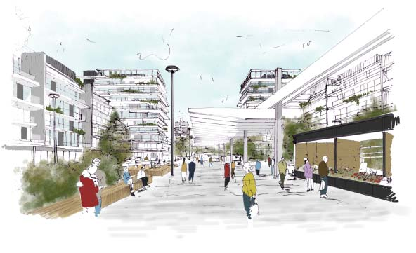 La gran plaza central, el corazón del proyecto