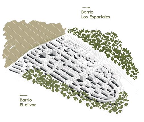 La trama urbana de Las Sedas está formada por un eje transversal de zonas verdes y parques: