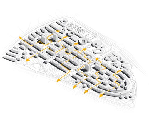 Y por espacios abiertos y áreas comunes que unen las diferentes edificaciones unas con otras:
